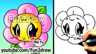 Kawaii Tutorial - How to Draw a Flower - Cute & Easy! - Popular Drawing Channels - Fun2draw