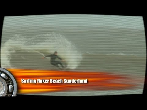 Surfing Roker Beach Sunderland, Tyne & Wear Northern England The east coast of the United Kingdom was once again battered by an autumn storm today, 10th of O...