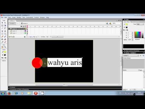 cara membut tulisan berjalan di macromedia flash 8