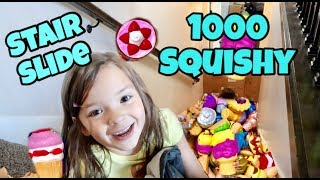SQUISHY VS STAIR SLIDE | SLIDING INTO A THOUSAND SQUISHIES!