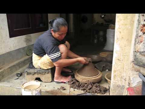 Making a fair trade earthenware pottery tagine in Lombok, Indonesia.
