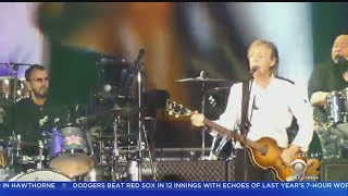 Ringo Starr Joins Paul McCartney During Dodger Stadium Performance