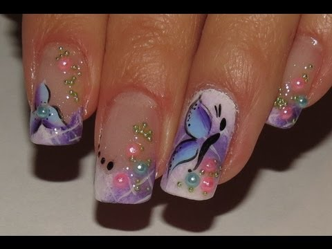 Ombre white and purple Spring fairy Nail Art Video Tutorial! flower.butterfly and pretty pearls