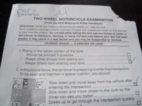 Ca Motorcycle Permit Test Not Blurry Youtube