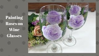 Painting Roses on Wine Glasses | Easy Glass Painting | Aressa | 2019