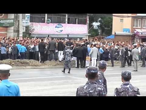 Indian Prime Minister Narendra Modi meeting people on the road of Kathmandu, Nepal