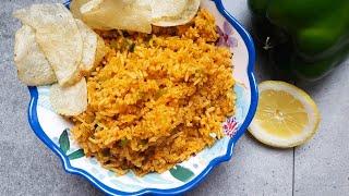 How To Make Capsicum Rice Recipe | Vegan Pantry Recipes | Vegan Green Bell Pepper Rice