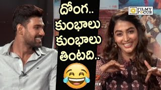 Bellamkonda Srinivas Making Fun of Pooja Hegde Eating Habit