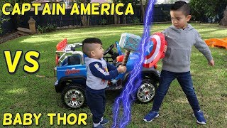 Baby Thor VS Captain America Battle Kids Ride on Car Backyard Fun With Ckn Toys