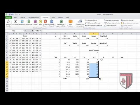 Tabla de frecuencias en Excel para datos agrupados