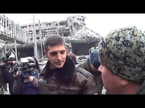 Donetsk airport,Givi and Vladimir Kononov about the situation on the front line 05 03 2015 Ukraine W