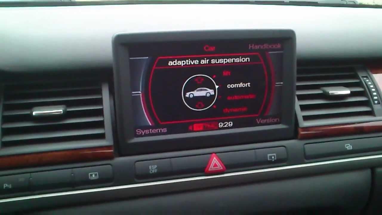 Towing mode Jacking mode AUDI A8 A6 Blokowanie zawieszenia pneumatycznego - YouTube