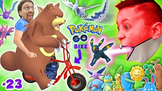 GAMING on my MINI-BIKE! Father & Sons POKEMON GO Gen 2 Adventure w/ Little Hack Cheaters! FGTEEV #23
