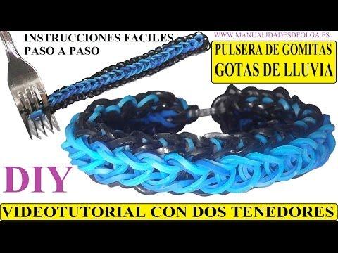 COMO HACER PULSERA DE GOMITAS GOTAS DE LLUVIA CON 2 TENEDORES VIDETUTORIAL RAINDROPS BRACELET