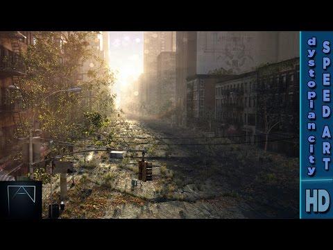 Dystopian city speedart - Cinema 4d