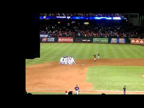 Texas Rangers extra innings walk off win celebration vs Twins
