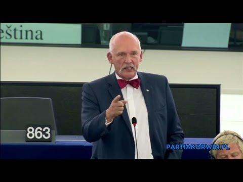 [LEKTOR PL] Janusz Korwin-Mikke: Kto daje zasiłki, ten ma krew na rękach 07.09.2015