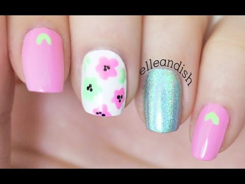 Easy Pink & Mint Flower Nails for Spring