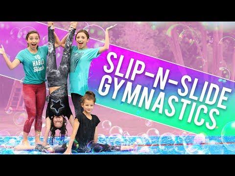 FUNNY SLIP-N-SLIDE GYMNASTICS CHALLENGE! (ft. Hayley & Annie LeBlanc from Bratayley) #1