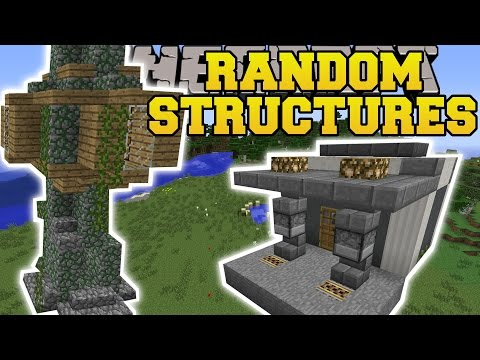 Minecraft: RANDOM STRUCTURES MOD GAS STATION TREE HOUSE PARK MORE Mod Showcase
