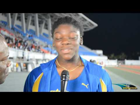 Carmeisha Cox and Keanna Albury speak after their 200m Final
