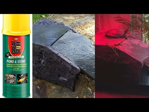 DIY $8 Aquarium Turtle Basking Platform Dock Cave AllinOne Area, Great Stuff Pond & Stone Spray Foam