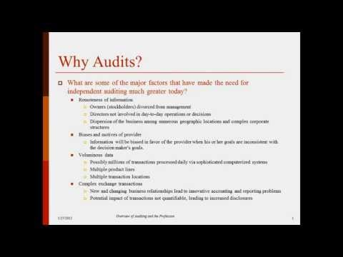 Overview of Auditing and the Profession - Prof. Helen Brown
