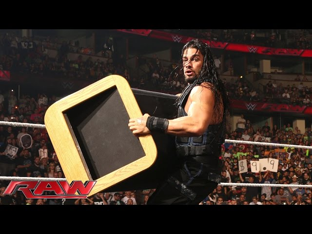 "Roman Reigns crashes Seth Rollins and Kane's ""eulogy"" for Dean Ambrose: Raw, Aug. 25, 2014"