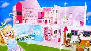 リカちゃん お部屋をDIY❤ミニチュアドールハウスをグルーガンで手作りするよ⭐ベッドルームやバスルームもあるよ🍭おもちゃ 人形 アニメ