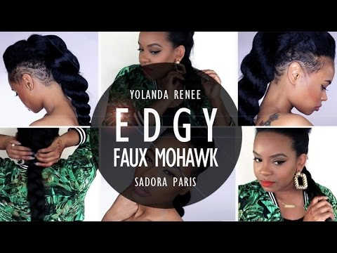 Draya Inspired Edgy Braided Mohawk with a Natural Hair Twist
