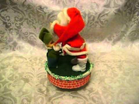 VINTAGE~FLOCKED CHRISTMAS SANTA MUSIC BOX~HELPER ELF~JAPAN~JINGLE BELLS~1960s