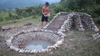 Build Water Slide and Stone Swimming Pool Underground Part 1