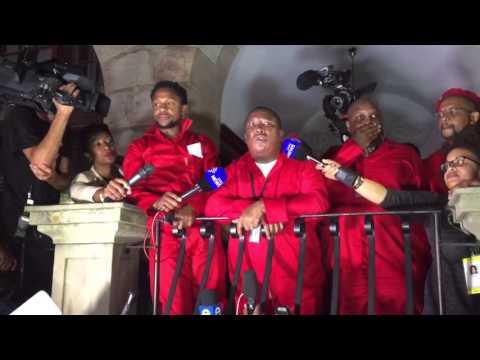 Julius Malema addresses media after leaving parliament