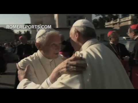 Benedict XVI and Francis meet in the Vatican Gardens