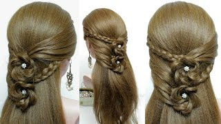 Easy hairstyle tutorial for long hair with braided flowers