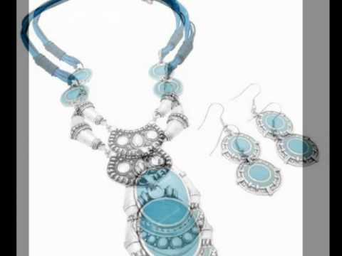 Turquiose Jewelry Set w/ Silver Metal Black  Multistring Necklace by FashionJewelryForEveryone.com