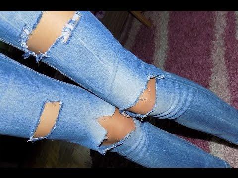 Как правильно сделать дырки на коленях джинсах 320