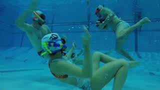 These people are fearless underwater.  Check out our warm up with a 10kg medicine ball in 5 m pool.