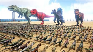1000 Dilos VS ARK Dinosaurs | Cantex