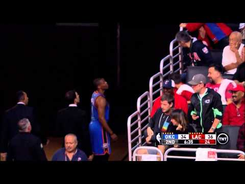 Russell Westbrook brief exchange with fan at Staples Center (Thunder at Clippers)