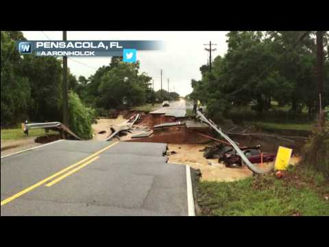 Biblical Floods Wash Away Roads in Pensacola, FL