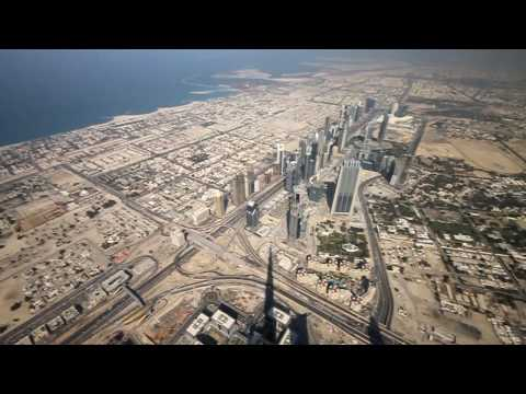 From the top of the Burj Khalifa's spire 828 m (aka Burj Dubai) video  , 31 December 2009