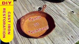 Restore, refurbish, remove rust, salvage old cast iron rusted cast iron, Trash to Treasure