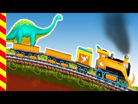 Мультик игра - Гонки на поездах. Динозавры догоняют Паровоз. Поезд против больших динозавров.