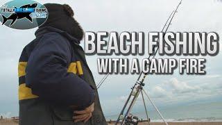 Winter Beach Fishing with a Camp Fire   TAFishing