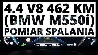 BMW M550i 4.4 V8 462 KM (AT) - pomiar zużycia paliwa