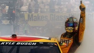 Kyle Busch hangs out of his car window during a burnout!   Watkins Glen (2013)