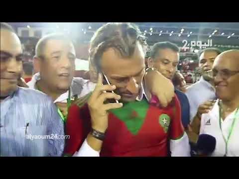 شاهد.. لحظة تلقي رونار اتصالا من الملك محمد السادس بعد الفوز