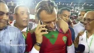 شاهد..لحظة تلقي رونار اتصالا من الملك محمد السادس بعد الفوز