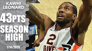 Kawhi Leonard drops season-high 43 points in dominant outing vs. Cavaliers | 2019-20 NBA Highlights